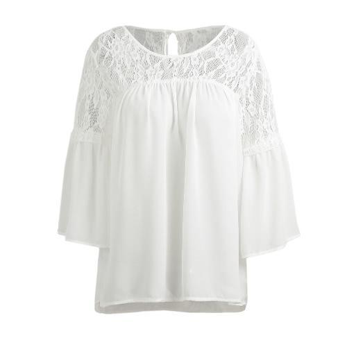 Camisa empalme del cordón de las mujeres del verano Blusa sólida floja ocasional lazo 3/4 mangas cuello redondo hembra superior blanco / negro
