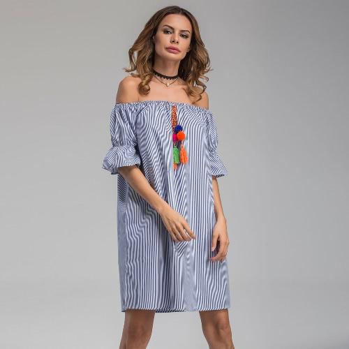 Las mujeres atractivas de vestir de rayas de hombro Ruffled mitad de la manga Bobble Fringe Loose Summer Mini vestido azul