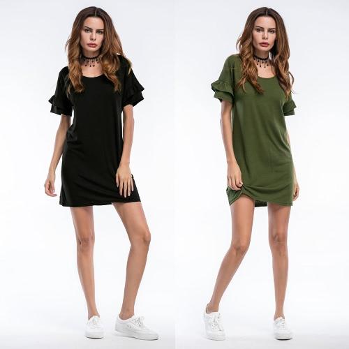 TOMTOP / Vestido de noche de las mujeres atractivas de las colmenas de las mangas de la colmena del vestido de la playa de Sundress del sólido O del negro / verde del ejército