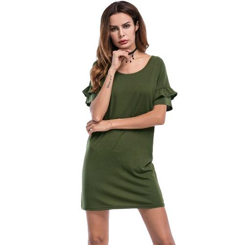 Vestido de noche de las mujeres atractivas de las colmenas de las mangas de la colmena del vestido de la playa de Sundress del sólido O del negro / verde del ejército