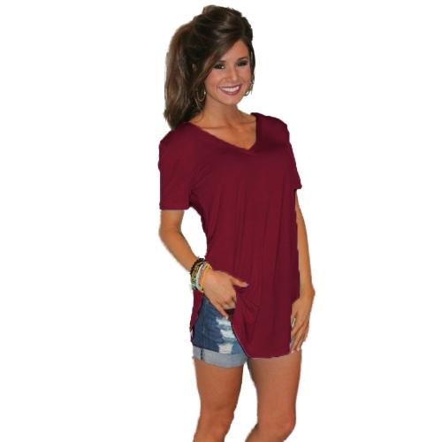 Nueva moda mujer camiseta de color sólido con cuello en V de manga corta dobladillo doblado larga Casual Top Wear Tops