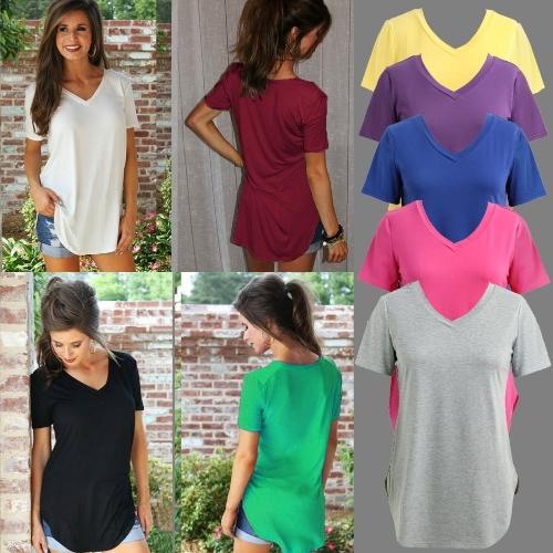 Новая мода Женская футболка с твердым цветом V Шея с коротким рукавом с закругленными длинными рукавами фото