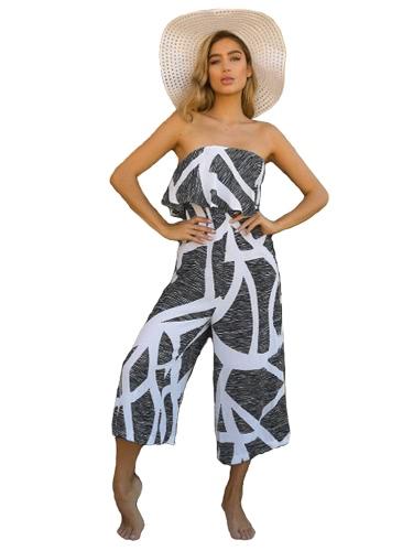Mujeres Sexy Strapless Jumpsuit Contraste Color Impresión Ruffles Pantalón Amplio Pantalones Verano Casual Beach Playsuit Rompers Negro