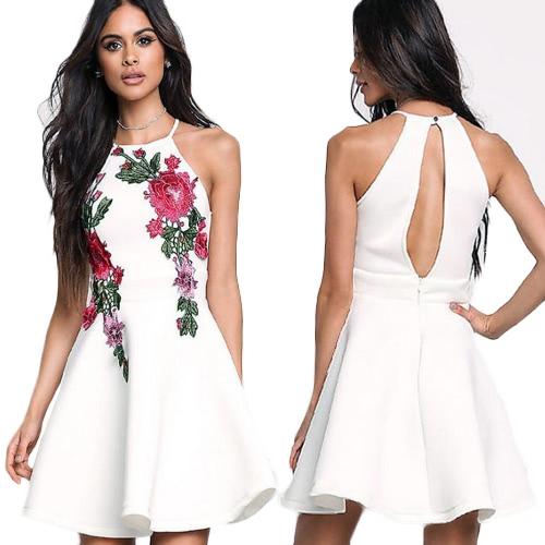 Sexy Frauen Mini Kleid Halter Blumenstickerei Backless ärmellosen eleganten A-Line Party Kleid weiß / schwarz / rosa