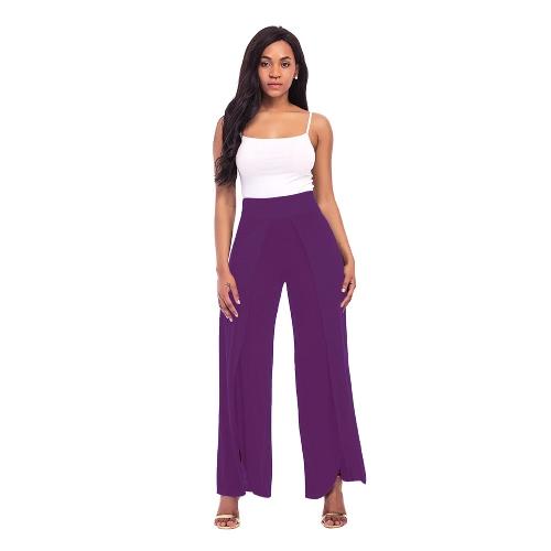 Pantalones largos de la pierna de Split de la alta de las mujeres atractivas mediados de pantalones sólidos de la yoga de la cintura Pantalones flojos del harem de la playa del verano de largo