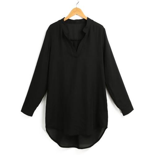Женская шифоновая рубашка V V Карманы для шеи Рулон с длинными рукавами Асимметричная сплошная сыпучая повседневная рубашка с блузкой фото