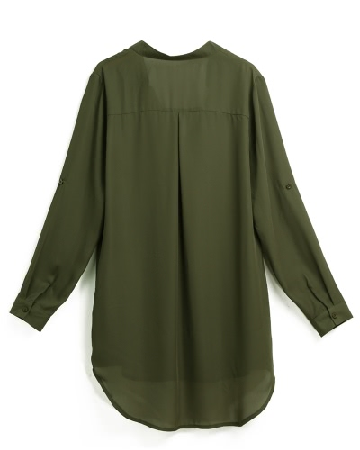 Women Chiffon Shirt Dress V Neck Pockets Roll up Long Sleeves Asymmetrical Solid Loose Casual Blouse Tunic Shirt
