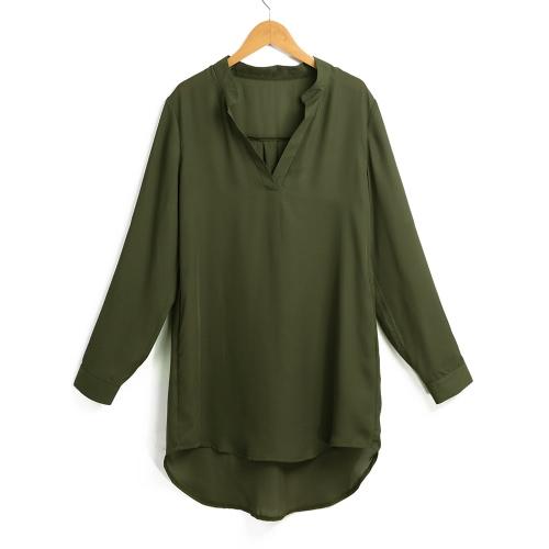 Las mujeres de gasa camisa vestir bolsillos de cuello en V enrollar hasta mangas largas asimétrico sólida blusa suelta camisa informal túnica
