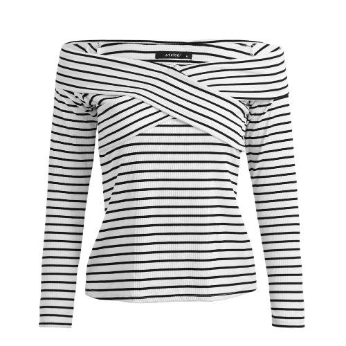 New Fashion Women Stripe Long Sleeve Top Off Ombro Cross Wraparound Front Slim Striped T-Shirt Tops Preto / Branco