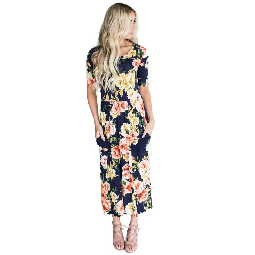 Vestido de mujer con estampado floral, bolsillos laterales, cintura alta, cuello redondo, manga corta, fiesta de playa, una pieza