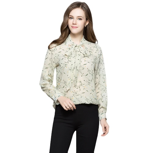 New Women Blusa Floral Print Lace-Up V-Neck mangas compridas Casual Elegante Loose Top Bege / Yellow