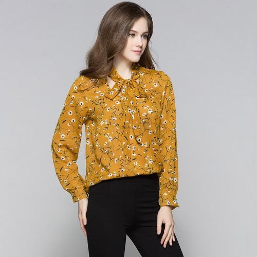 Nuevas mujeres blusa de impresión floral de encaje hasta el cuello en V manga larga casual elegante suelta superior beige / amarillo