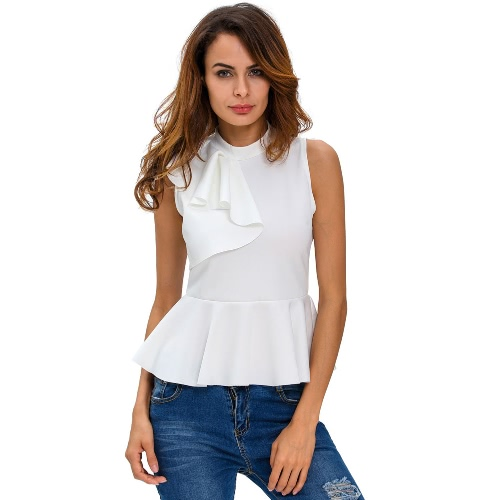 Estate Fashion Women Asymmetric Side Ruffle Peplum Top Turtleneck Sleeveless Back Camicette a Chiusura lampo