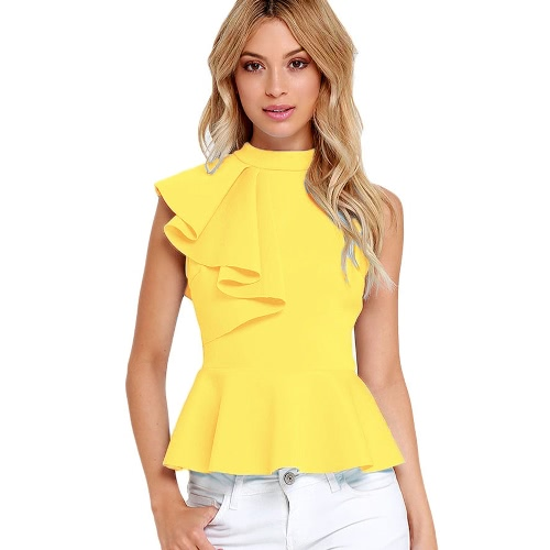 Verano Mujeres Moda Asimétrico Ruffle Side Peplum Top Turtleneck Back Sleeveless Back Zipper Blusas