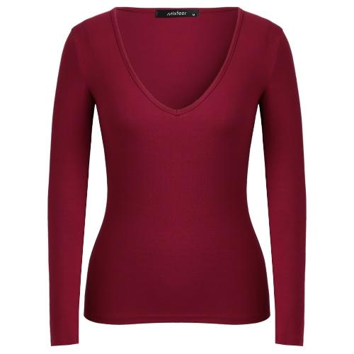 Nuevas mujeres sexy Plunge V cuello de la camiseta de manga larga de color sólido de pullover de la parte superior