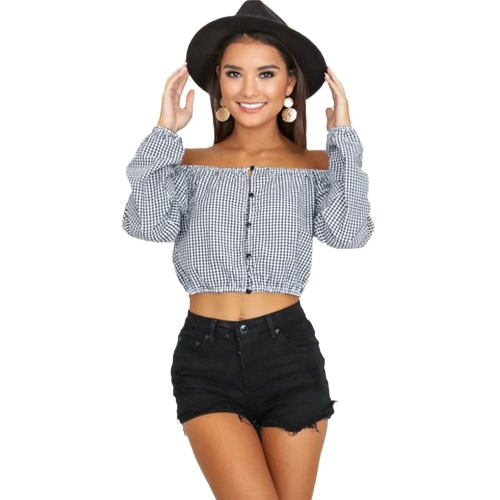 Mulheres Off Shoulder Blouse Plaid T-shirt Sweet Slash Neck Summer Beach Short Tops Tee Vestuário Preto