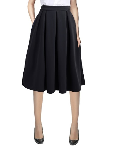 New Fashion Women Alta cintura de saia plissada Zíper lateral com saia flared com bolsos preto / vermelho