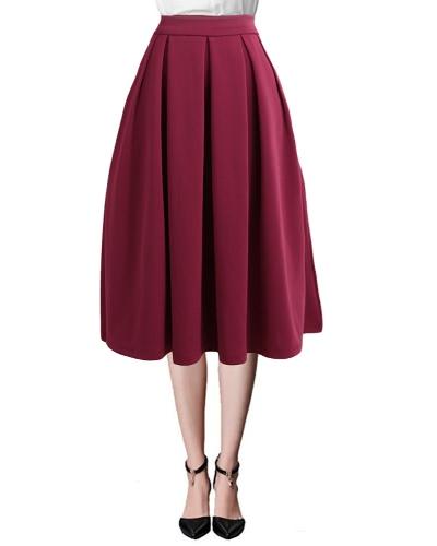 Nuevas mujeres de moda de alta cintura plisada falda laterales Zipper Flared faldas con bolsillos Negro / Rojo