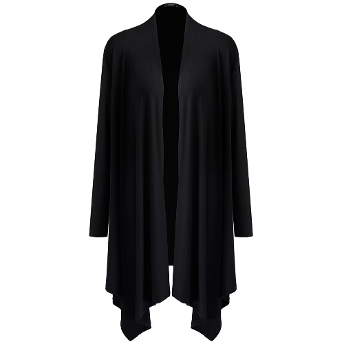 New Fashion Women Cardigan Mangas Longas Abertas Front Solid Color Outerwear Purple / Black