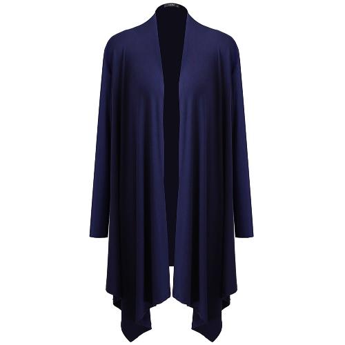 Las nuevas mujeres de la manera rebeca mangas largas abiertas delanteras de la prendas de vestir exteriores de color sólido púrpura / negro