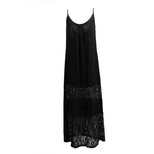 Women Summer Dress Solid Lace Splice Spaghetti Strap Loose Long Beach Maxi Plus Size Floor-length Dress
