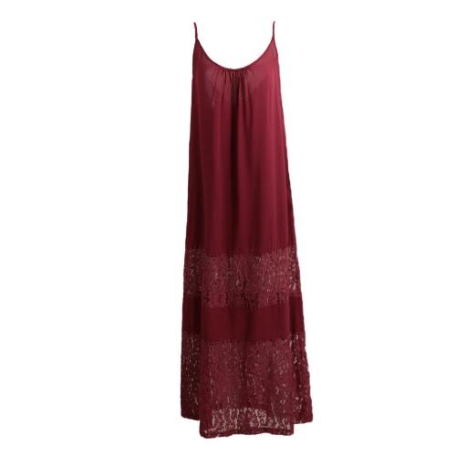 Vestido de Verano de Mujeres Solid Lace empalme correa de espagueti suelta Long Beach Maxi tamaño más vestido de piso de longitud
