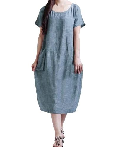 Vestido suelto ocasional de la vendimia del verano del bolsillo de la manga del cortocircuito del color sólido del vestido flojo de las mujeres de la manera más tamaño