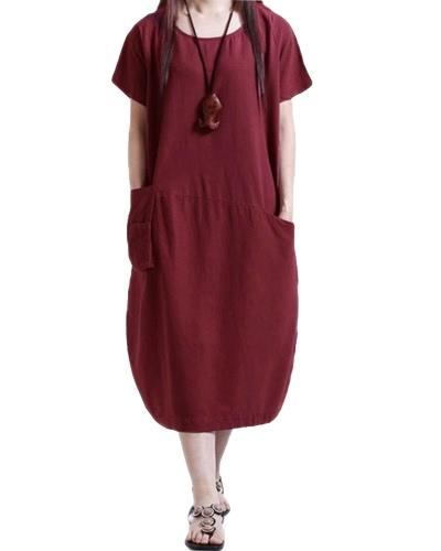 ファッション女性のカジュアルルーズドレスソリッドカラーショートスリーブポケット夏ヴィンテージミディロングドレスプラスサイズ