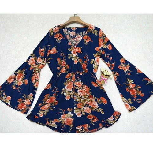 New Sexy Women Playsuit Floral Print V Neck Flare Long Sleeve Elastic Waist Beach Holiday Jumpsuit Rompers Blue/Red