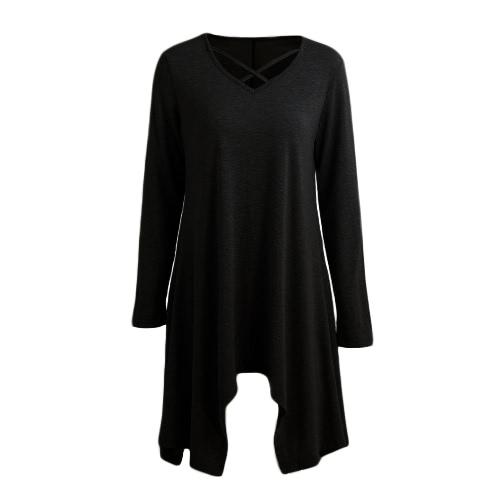 Sexy Frauen Asymmetrisches T-Shirt Criss Cross V Neck Langarm Bluse Solid Loose Casual Tunika Top Schwarz / Grau / Army Green