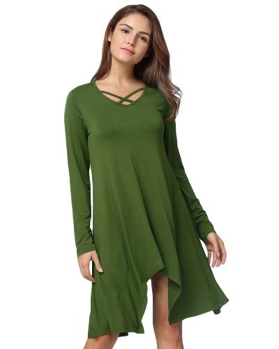 Mujeres Atractivas Camiseta Asimétrica Criss Cruz V cuello manga larga Blusa Solid Loose Casual túnica superior Negro / Gris / Verde Ejército