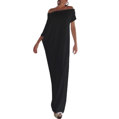 Seksowne kobiety letnie Boho Long Maxi sukienki Slash Neck Off Shoulder Solid Casual Luźna Plus Rozmiar Dress White / Black