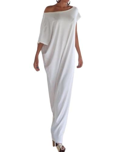 Sexy Verano Mujer Boho Long Maxi vestido Slash cuello de hombro sólido informal suelta más vestido de tamaño blanco / negro