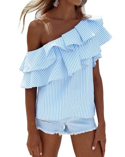 Женщины одно плечо Ruffles рубашка блузки верхняя вскользь рубашка рубашки с короткими рукавами Top Pink / Blue фото