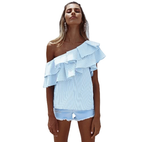 Mulheres One Shoulder Ruffles Blusa Shirt Top Casual Stripe Shirt Manga Curta Top Pink / Blue