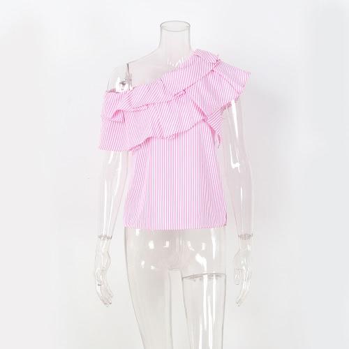Женщины одно плечо Ruffles рубашка блузки верхняя вскользь рубашка рубашки с короткими рукавами Top Pink / Blue