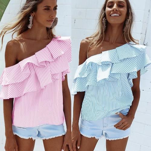 Mujeres Un hombro Ruffles blusa camisa Top Casual Stripe camisa de manga corta superior rosa / azul