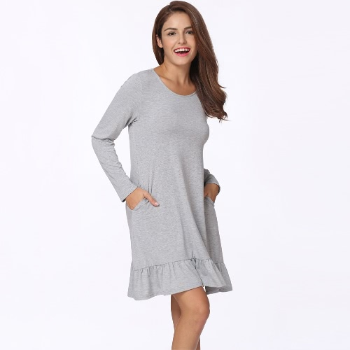 New Fashion Women Mini Dress Solid Color Ruffle Hem Round Neck Long Sleeve Pockets Casual One-Piece