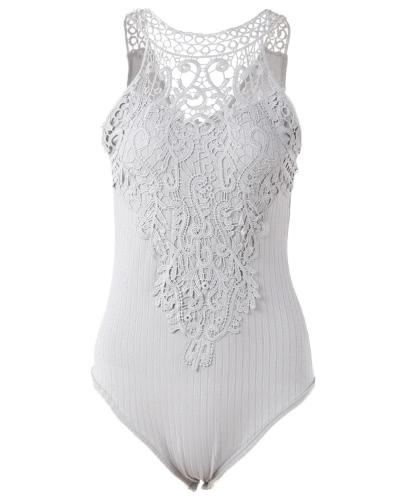 El cuerpo sin mangas del mono de Bodycon de las mujeres atractivas ahueca hacia fuera el cordón acanalado del cordón de Crochet Playsuit Rompers