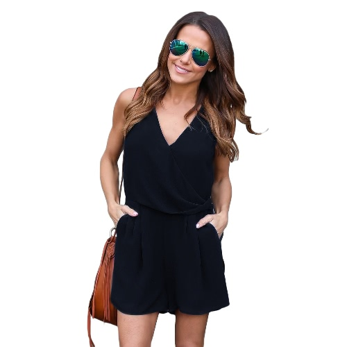Summer Casual Playsuit Mujeres Sexy Sleeveless Short Jumpsuit Shorts Solid Deep Deep V Neck Machetes