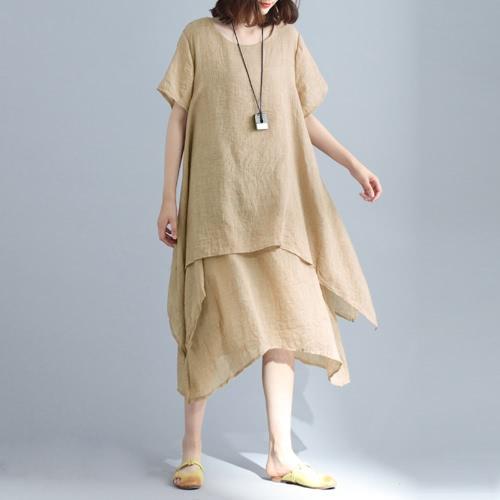 Moda damska Casual luźna sukienka Solid Short Sleeve Bawełna Linia Asymetryczna Boho Midi Długa Sukienka Czerwona / Szara / Khaki