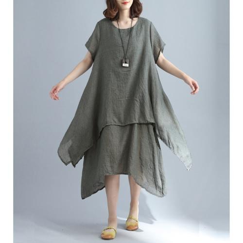 Moda mujer Casual vestido suelto sólido manga corta de algodón de lino asimétrico Boho Midi largo vestido rojo / gris / caqui