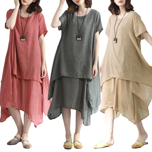 Fashion Women Casual Loose Dress Solid Short Sleeve Cotton Linen Asymmetrical Boho Midi Long Dress Red/Grey/Khaki