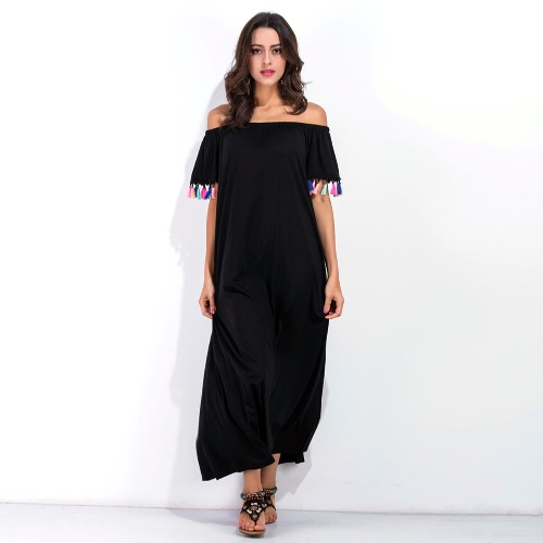 Sexy Mulheres Off Shoulder Maxi Dress Short Sleeve Tassels coloridos Fringed Solid Loose Summer Long Dress