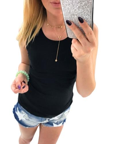 Camisola de alças nova mulher de verão Aqueça-se camiseta sem mangas com o-pescoço fino Camisola de damas
