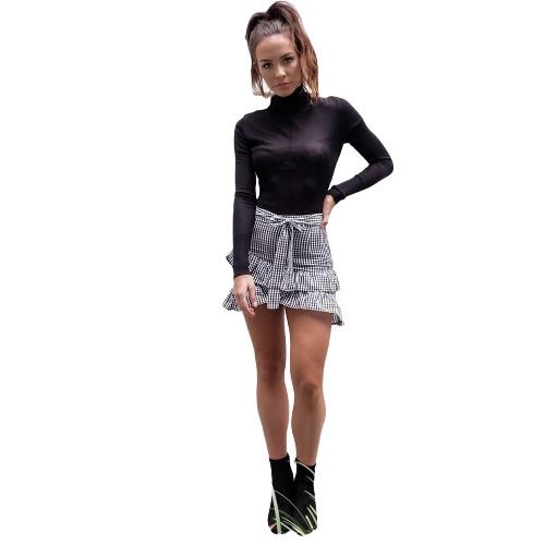Mujeres Elegantes Falda De La Ruffle Patrón Check Plaid Asymmetric Hem Vintage Preppy Mini Falda Negro