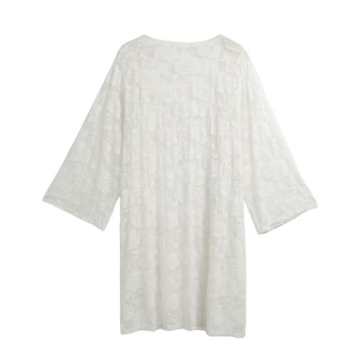 Traje de baño de encaje de moda cubrir hasta ver a través de la playa hasta el kimono de las mujeres