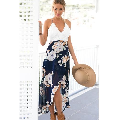 Sexy mujeres de impresión floral de encaje vestido de verano correa de cuello en V profundo de alta cintura playa Split Backless Midi vestidos de color azul oscuro