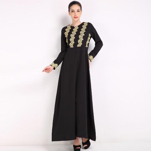 Moda Mulheres Vestido Muçulmano Bordado Manga Longa Abaya Kaftan Islâmica Arab Robe Maxi Vestido Preto / Café / Azul
