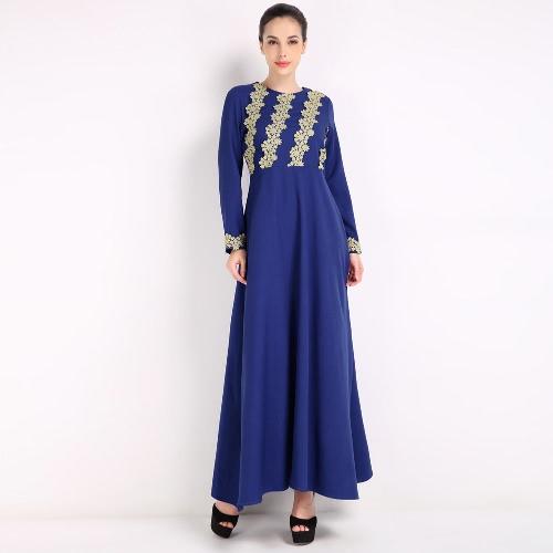 Moda Mujer Musulmanes Vestido de manga larga Abaya Kaftan islámica Robe Maxi vestido Negro / Café / Azul